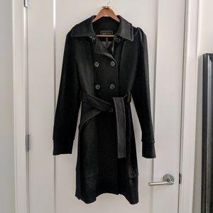 BCBGMaxAzria black wool cashmere trench coat